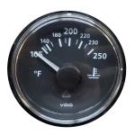 VDO ViewLine Onyx 250°F Water Temperature Gauge 12/24V with VDO Sender & US Thread Adapters - Bezel NOT Included